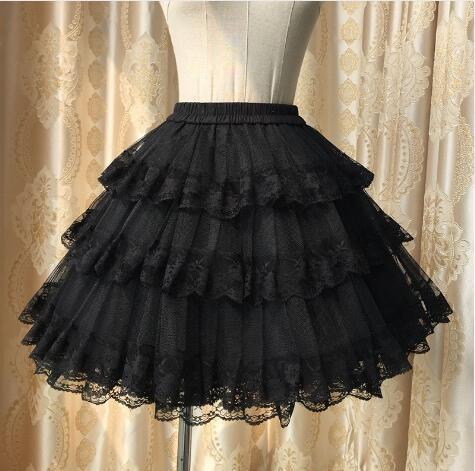Dulce Blanco/Negro Caliente Tres Capas de Encaje Lolita Petticoat/Tutu Enagua para el Vestido Corto Envío Gratis
