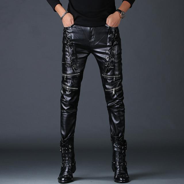 men personality fake zippers design skinny faux leather pants youth rock nightclub motorcycle clothing autumn winter trousers 4