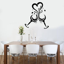 Wine Glasses Vinyl Wall Stickers Love Heart Shape Decal Bar Decoration Art Mural Removable Kitchen AY865