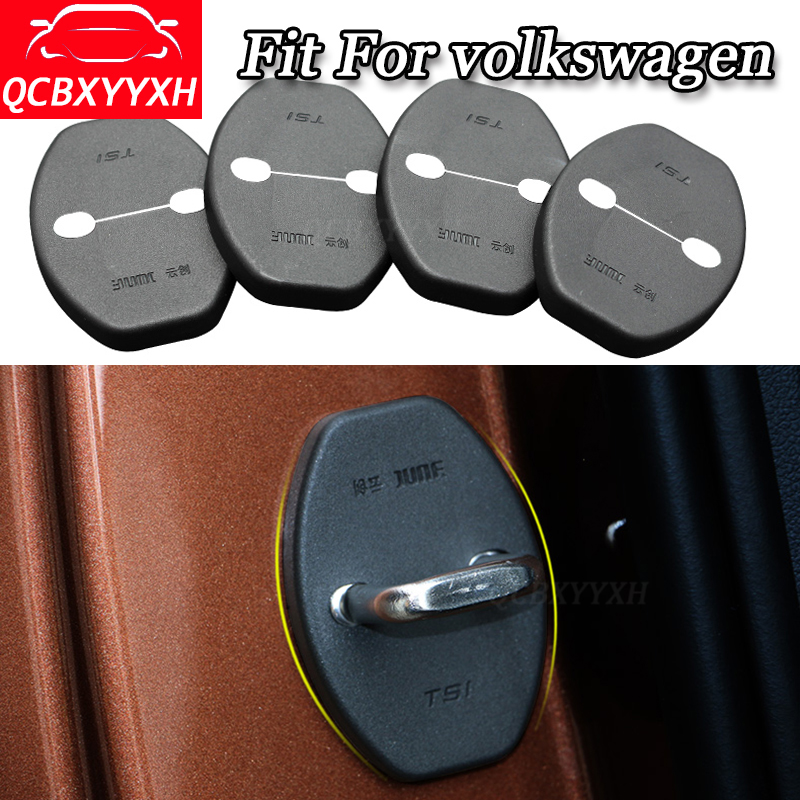 QCBXYYXH Car styling 4pcs/set Car Door Lock Protective Cover For Volkswagen TIGUAN POLO GOLE SHARAH TOURAN BORA LAVIDA 2008-2018