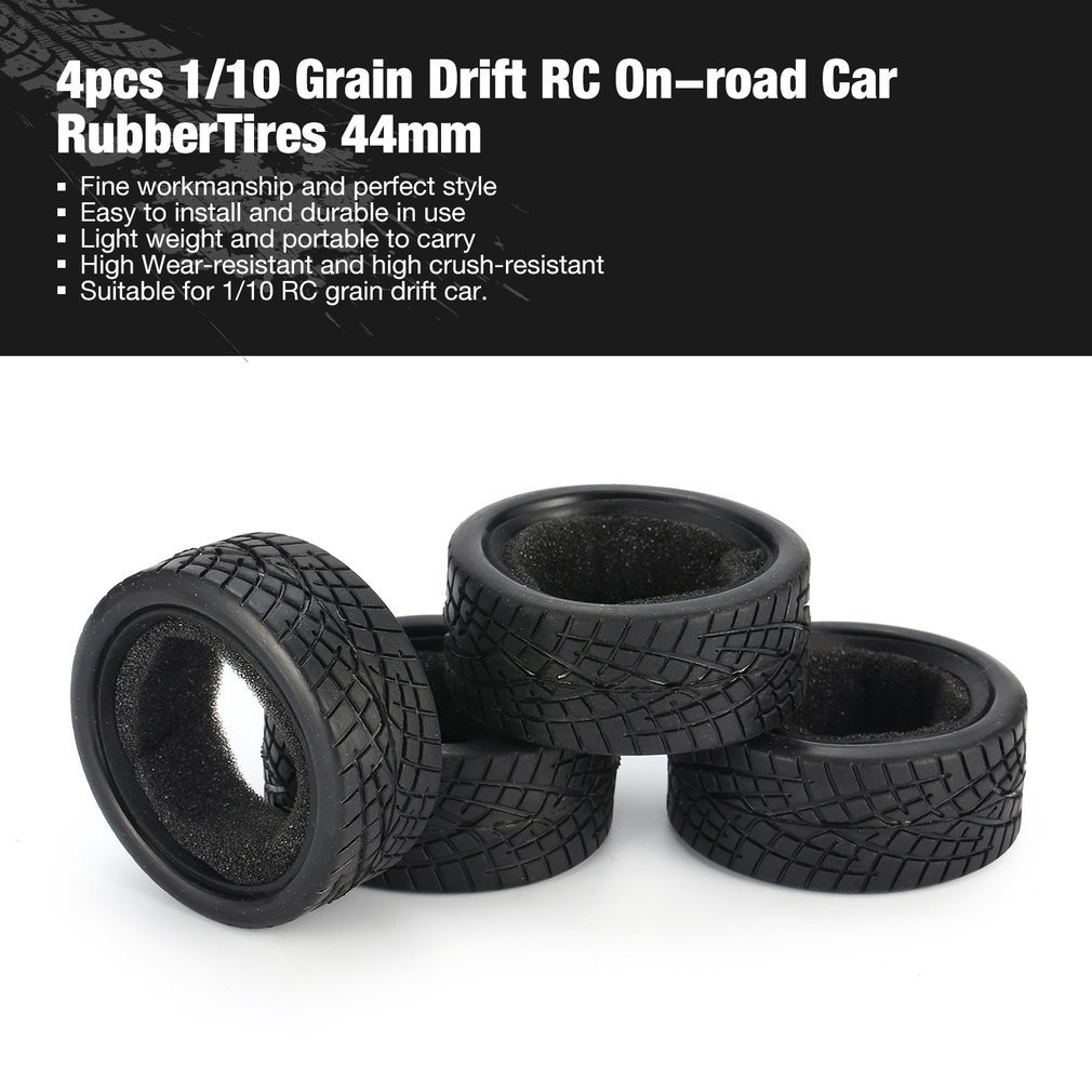 4pcs 1/10 Medium Grain Drift RC On-road Car Tyre RubberTire Tyre 44cm/47mm/49cm for Wheels Traxxas Tamiya HPI Kyosho Racing HSP image
