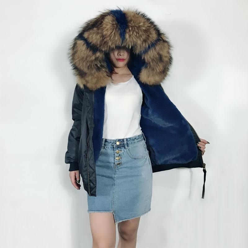 Deep Blue Bomber Jacket Winter Big Size Raccon Fur Collar Parka for Women