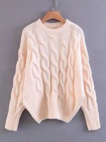 Fall New Casual O Neck Cable Knit Drop Shoulder Knit Sweater