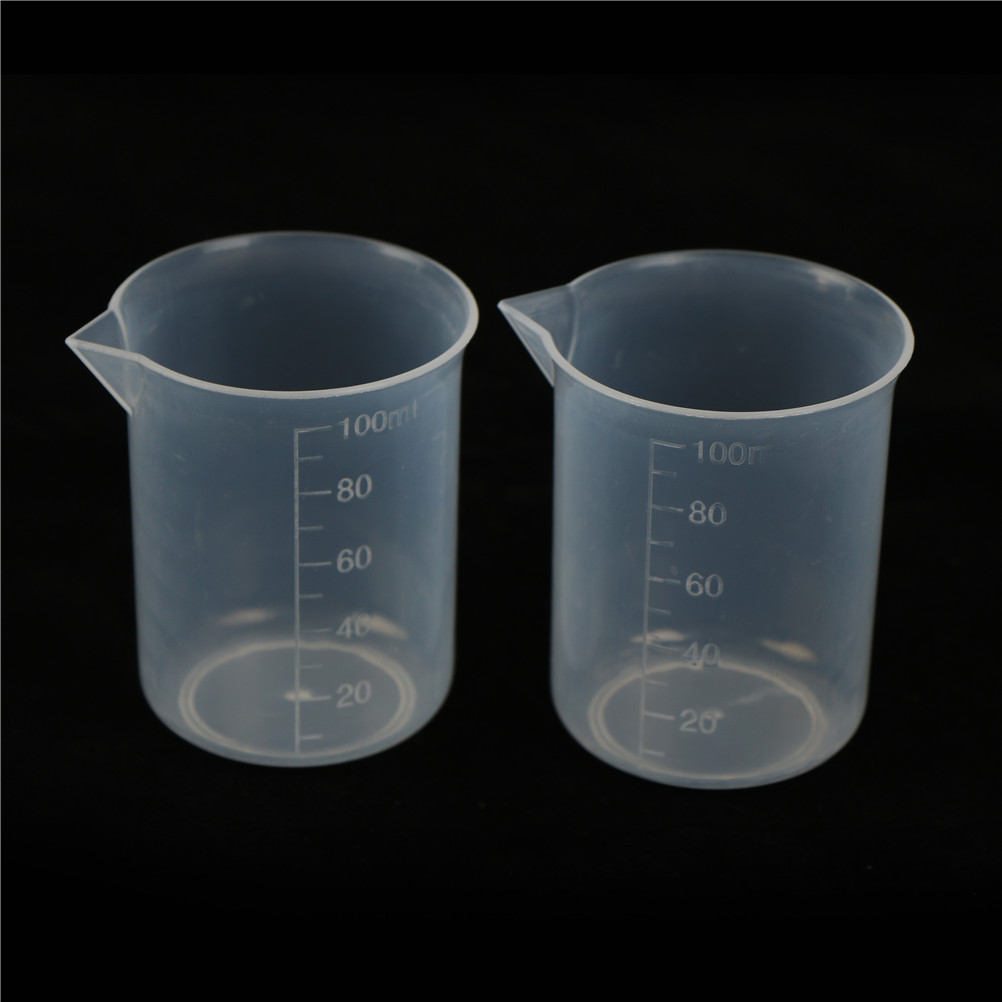 2PCS 100mL Graduated Borosilicate Glass Beaker Plastic Transparent Beaker Set  School Laboratory Study Supplies