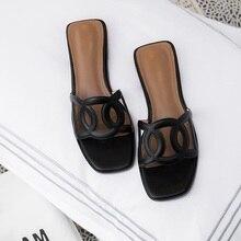 бренд женщины обувь натуральная кожа плоский каблук повседневная одежда Тапочки мода кат-аутов сандалии лето пляж женщины мулы черный