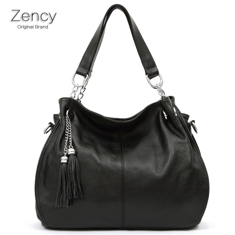 ZENCY Brand Bags Famous Brands 100% Genuine Leather Soft Cow Leather Bag Women Handbag Shoulder Tote Messenger OL Bag