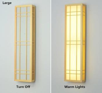 Настенная лампа из цельной древесины в японском стиле/Северная Европа светодиодный Современный Креативный ПВХ абажур светильник Настенны...