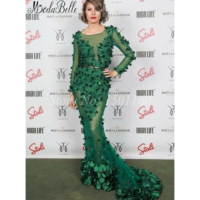 Ziad Nakad Forest Green Dubai Evening Dress Illusion Long Sleeve ...