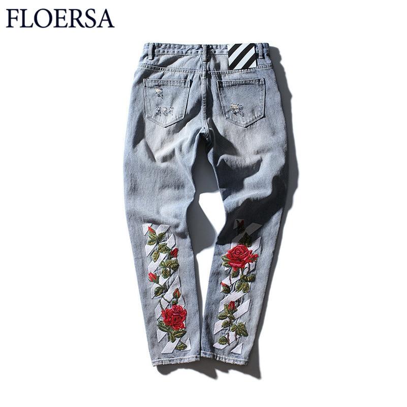 FLOERSA Embroidered Rose Men Jean Fashion Holes Denim Pants Homme HipHop Long Trousers Jeans for Men Vaqueros #S01825 men s cowboy jeans fashion blue jeans pant men plus sizes regular slim fit denim jean pants male high quality brand jeans