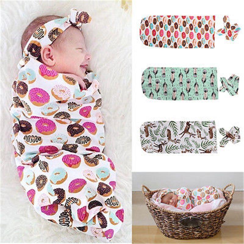 Одежда для новорожденных Цветочные конфеты Стиль модные милые органического хлопка Одеяло Пеленальный спальный мешок sleepsack коляска Обёрточная бумага