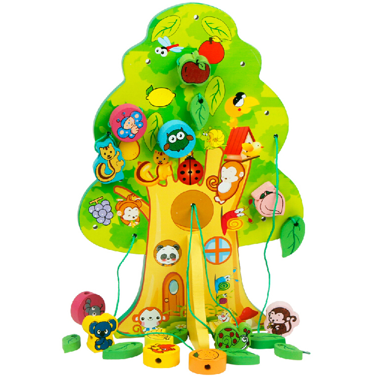 Candice guo! New arrival educational wooden toy colorful animal lacing fruit tree house stringing beads baby gift 1pc good quality luo han guo extractsiraitia grosvenorii extractmonk fruit sweetener 10 1 600g