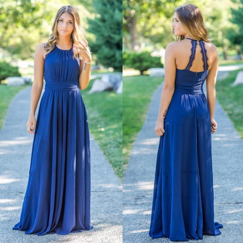 Babyonline Floor Length Chiffon   Bridesmaid     Dresses   2019 Halter Neck Backless Wedding Party   Dresses   Custom Made vestido gasa