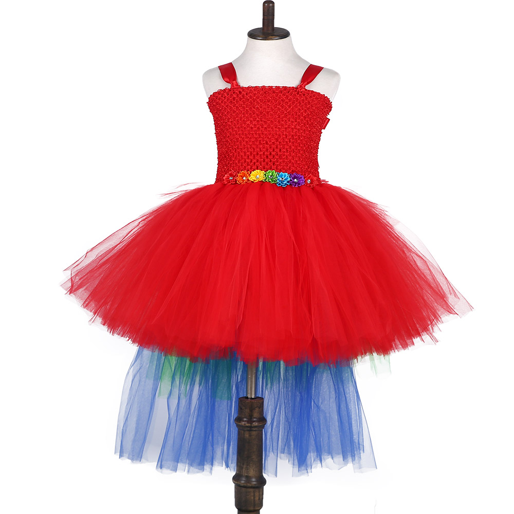 Girl Christmas Carnival Red Macaw Parrot Tutu Dress for Kids Scarlet Halloween Cosplay Costume Baby Cake Birthday Dresses Outfit