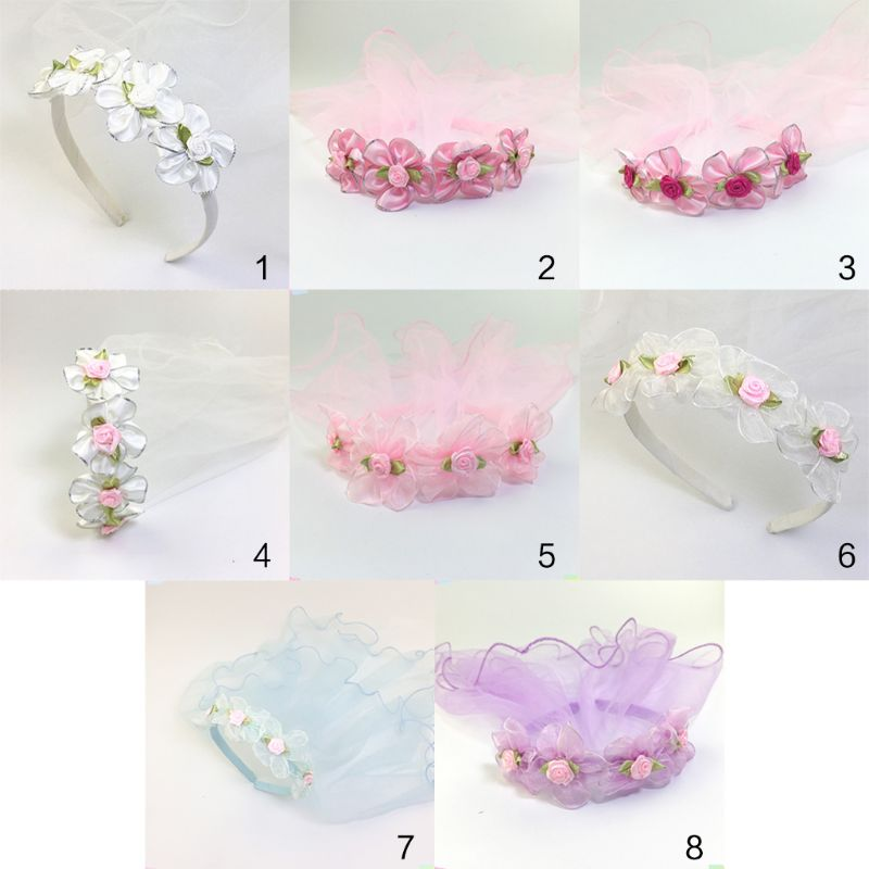 Girls Wedding Agaric Mesh Veil Headband Glitter Powder Trim Artificial Flower Wreath Crown Hair Hoop First Communion Headband