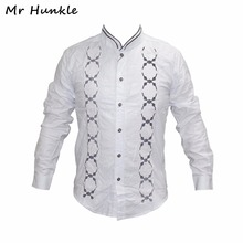 Brand Mr Hunkle Men's Emboildery Shirt Autumn Single Breasted Long Sleeve Smart Casual Shirts Stand Neck Men's Clothing