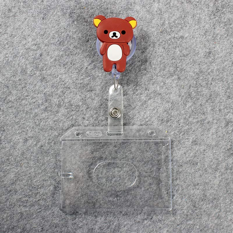 Cartoon Cat Transparent Badge Scroll Nurse Reel C Bear Character Scalable Cute Pink Nurse Exhibition ID Plastic Card Holder in Badge Holder Accessories from Office School Supplies