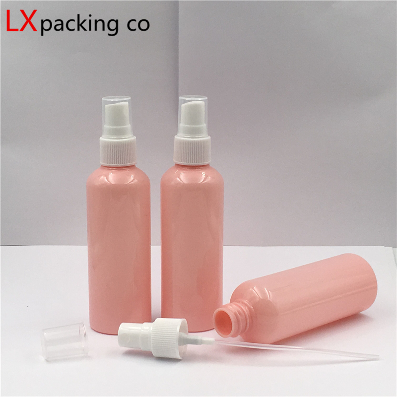 50 Pcs Free Shipping 10ml 30ml 50ml 100 Ml Pink Plastic Spray Bottles White Sprayer Perfume Cosmetic Containers Pink  Bank