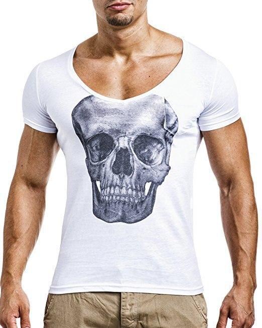 ファッション頭蓋骨プリントメンズtシャツtシャツファッション男性tシャツブランドオム半袖ラウンドネックカジュアルtシャツスリムフィット