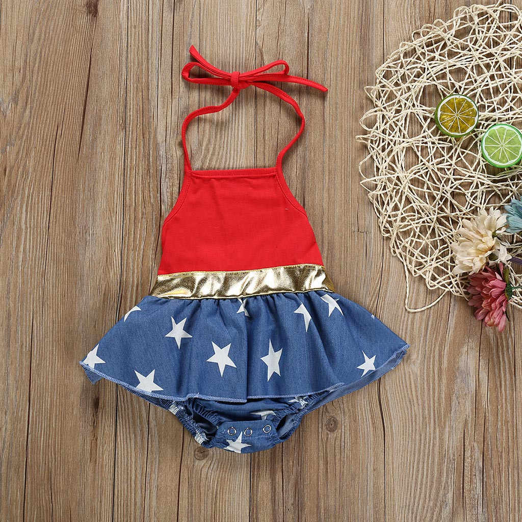 4th of July Stars Print Patriotic Backless Romper Newborn Baby Clothes Baby Girl Romper US Flag Independence Day Summer 2019