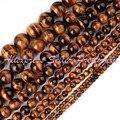 """Os Olhos do Tigre Natural Rodada Amarelo Gem Stone Beads Strand 15 """"2,3, 4,6, 8,10mm Para Colar pulseira Fazer Jóias, Frete Grátis"""
