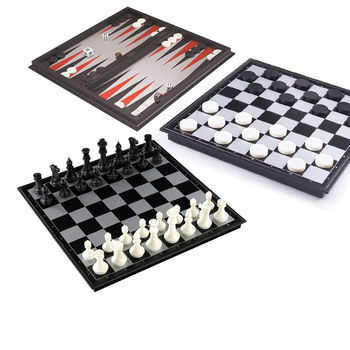 Magnetic Chess Backgammon Checkers Set Foldable Board Game 3-in-1 Road International Folding Portable