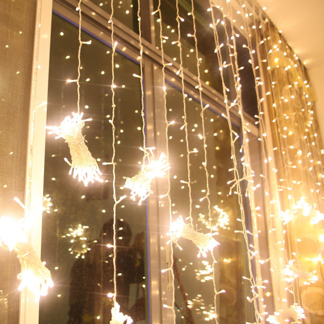 Us 25 99 6mx1m 256 Led Outdoor Holiday Lighting Christmas Decorative Xmas Curtain String Fairy Garlands Party Wedding Light Us Uk Eu Au In Led