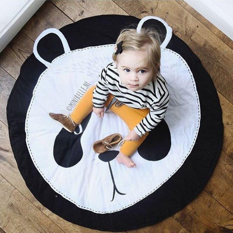 Enfants ramper bande dessinée panda coton coussin tapis tapis de jeu tapis décoratif enfants tapis de jeu photos accessoires cadeau 94*87 cm