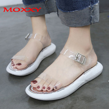 2019 Women Sandals Transparent Flat Summer Shoes Gladiator Open Toe Clear Jelly shoes Woman Ladies Slippers Roman Beach Sandals mvvjke summer women shoes woman genuine leather flat sandals casual open toe sandals women sandals