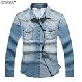Newsosoo Новая Мода весна осень мужские джинсовые Рубашки Повседневные Тонкий Британский стиль Омывается cowboy Рубашки Мужские Джинсы Рубашка CY50