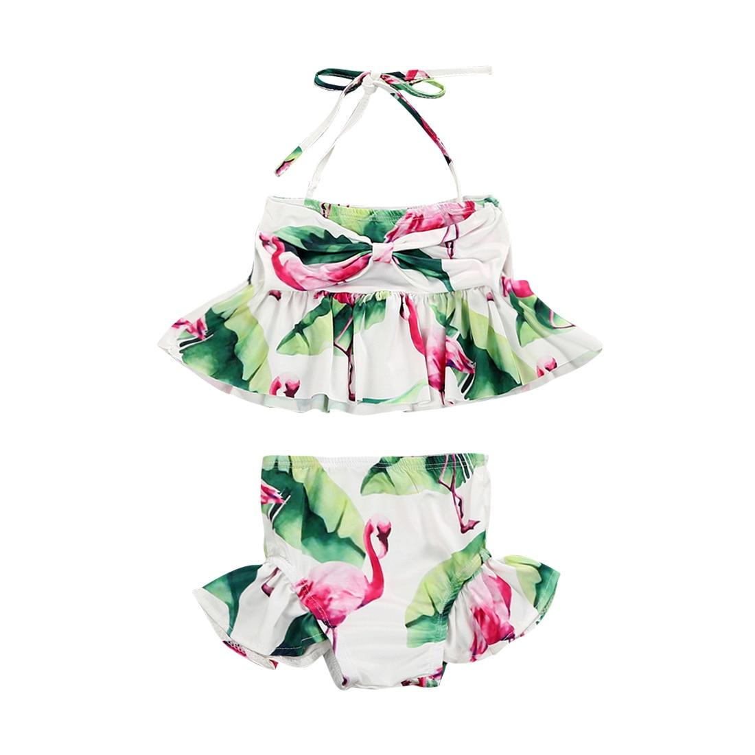 Kid Baby Girls Flamingo Two-piece Tankini Swimwear Little Girl Swimsuit Bikini Bathing Suit Beachwear Купальник
