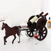 Carriage Horse Wooden Wine Rack Wine Cup Holder Hanging Rack Bar Hanging Upside Down Wine Cooler Creative Ornaments Wine Racks