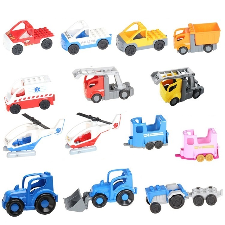 Engineering Car Vehicle Set plane helicopter Big Particles Building Blocks accessory DIY Gift Toys Compatible with Duplo Bricks