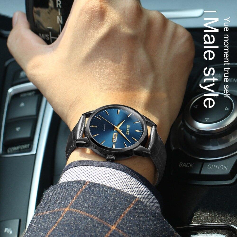 HTB1ISyOz79WBuNjSspeq6yz5VXam Mens Watches Top Brand Luxury OLEVS Fashion Watch Men Leather Quartz Watch For Male Auto Date Rose Gold Shell relogio masculino