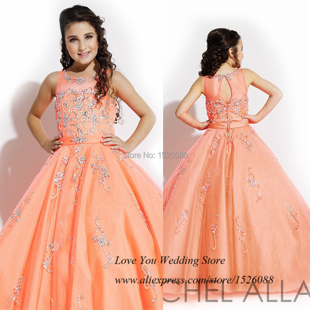 Kids Frock Designs Saia Orange Girls Pageant Dresses Ball Gown ...