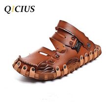 QICIUS New Fashion Men's Sandals Summer 2017 Leather Sandals For Men Shoes Outdoor Breathable Sandals Men Casual Sandals B0081