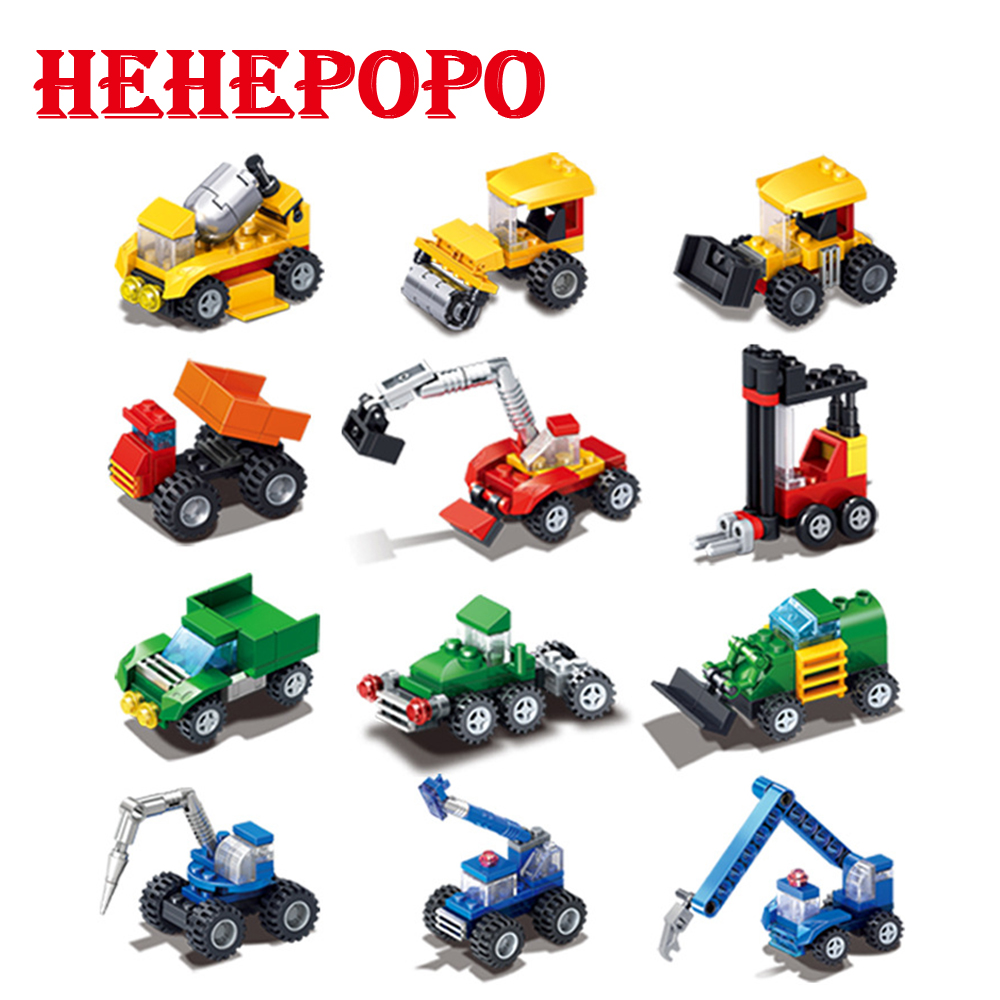 2018 Hot Sale 30pcs.Engineering Cars Series of ABS Mini Assembled Bricks Small Size Building Blocks For Boys' Best Birthday Gift cars cars moving in stereo the best of the cars 2 lp