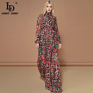 Image 3 - LD LINDA DELLA robe longue à manches longues, tenue femme élégante pour fête, imprimé Rose Floral, léopard, pour les vacances