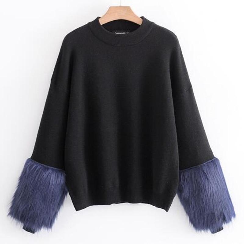 Vintage Long Sleeve Spliced Faux Fur Cuff Sweater 2018