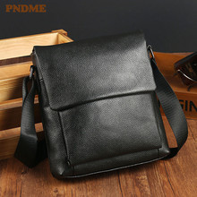 PNDME casual simple first layer cowhide men's shoulder bag handmade soft genuine leather messenger bags daily small square bag