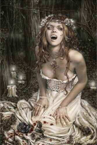 VICTORIA FRANCES PINUP  WITCHES VAMPIRES SILK POSTER Decorative painting  24x36inch