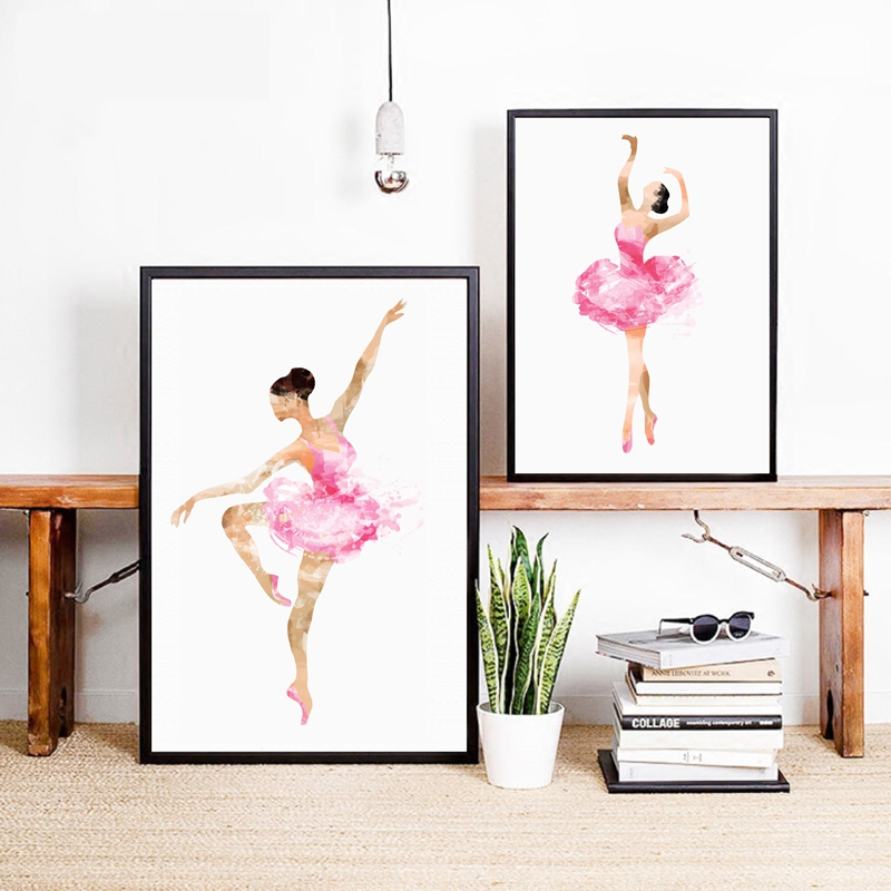 Watercolor ballerina in dance art print wall picture for Ballerina bilder kinderzimmer