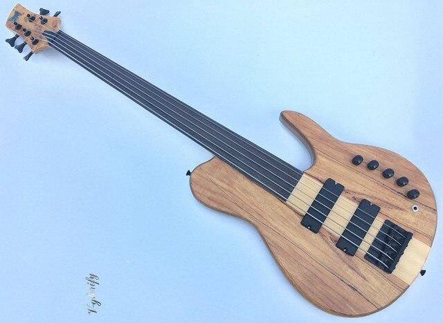 5 cordas fretless bass guitar pescoço através de guitarra baixo corpo Eletrônica Ativa