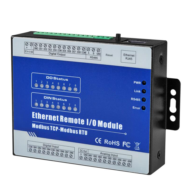 Isolated IOT RTU RS485 Bus to Ethernet Remote IO Module Supports Modbus RTU/ASCII Master Register Mapping 8 Relay Outputs 8 way network io controller remote control rs485 relay switch modbus tcp rtu protocol support master slave mode usr cloud q156