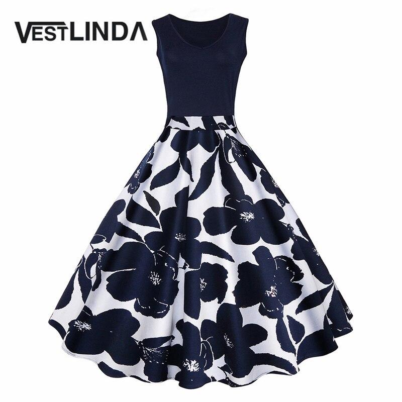 VESTLINDA Women Vintage Summer Party Dress Elegant Female