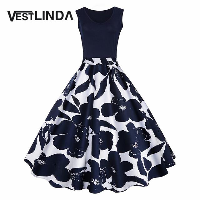VESTLINDA Women Vintage Dress Retro 50s Floral Print High Waist Summer Party Dress Elegant Female Dress Vestido de festa Robe