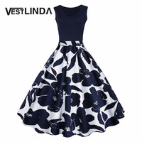 VESTLINDA Women Vintage Dress Floral Print High Waist Summer Autumn Party Retro Dress Elegant Female Dress