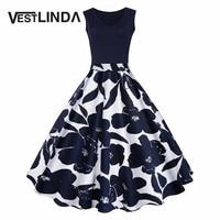 VESTLINDA Women Vintage Dress Floral Print High Waist Summer Autumn Party Retro Dress Elegant Female Dress