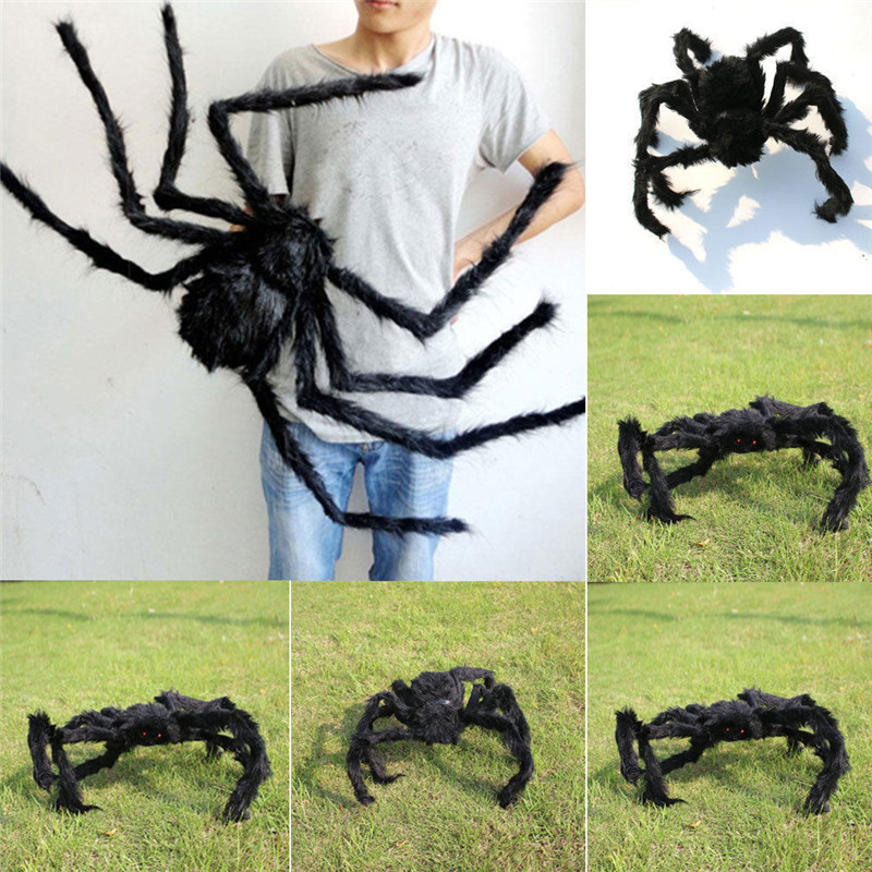 Soft Black Plush Spider Funny Toy Scary Red Eyes Halloween Decoration Prank Toys Haunted House Horror Props Indoor Outdoor Wide