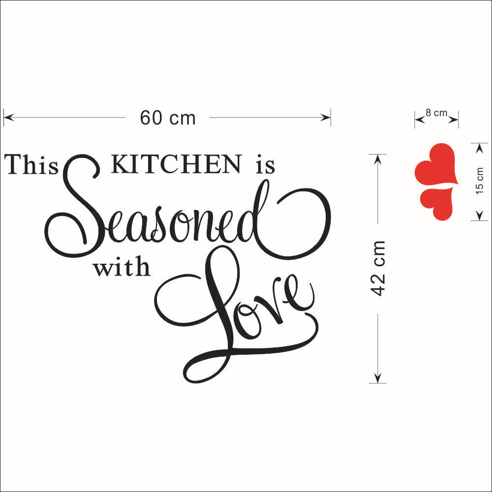 red heart this kitchen is seasoned with love vinyl kitchen quotes red heart this kitchen is seasoned with love vinyl kitchen quotes wall stickers kitchen decor home letter decoration words love in wall stickers from home