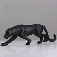 Factory Direct Selling Modern Geometric Black&White Leopard Statue Resin Animal Panther Figurine Home Decor Ornaments Sculpture